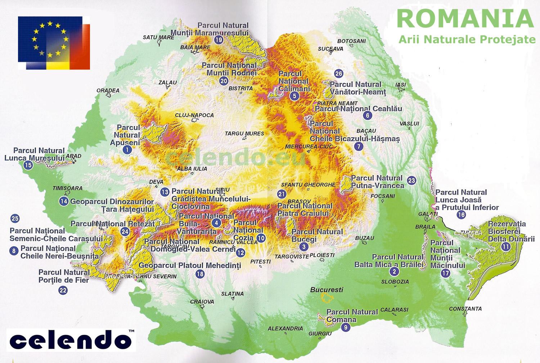 Harta parcurilor Nationale si Naturale din Romania